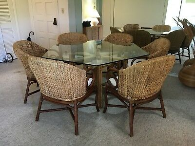 McGuire Vintage Dining Table + Six (non-McGuire) Chairs, excellent condition.