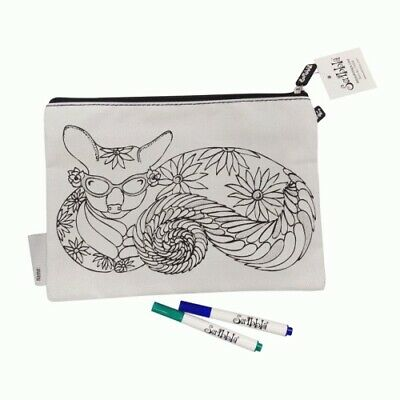 Scribbla Colouring in Pencil Case & Fabric Pen Set Possum with Colour Markers