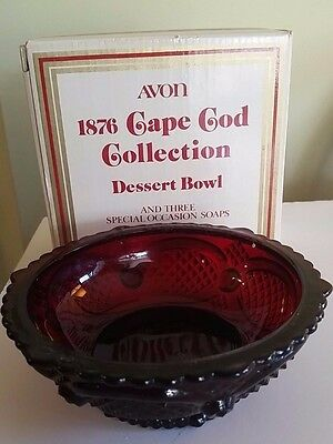Glass Bowl Dessert AVON CAPE COD COLLECTION Ruby Red Vintage