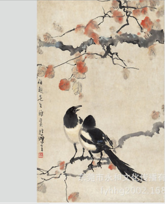 original chinese signed 100% handpainted scroll painting Double magpie chart