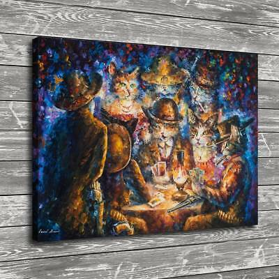 Cats Playing Poker Home Decor Room HD Canva Print Picture Wall Art Painting