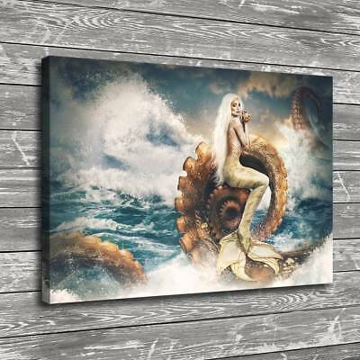 "12""x18""Mermaid and Giant Squid Home Decor Room HD Canva Print Picture Wall Art"