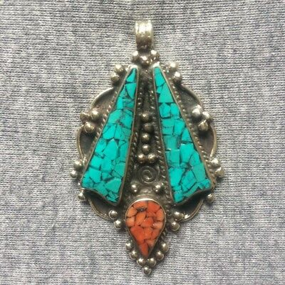 PD-305 Antique Style Nepalese Tibetan White Metal Turquoise Coral Drop Pendant