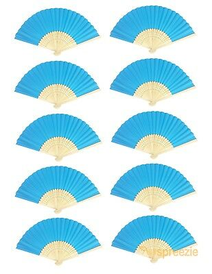 Light Blue Paper Hand Fans Bamboo Chinese Folding Pocket Fan Decor New (10 Pack)