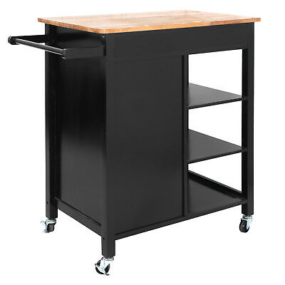 Rolling Kitchen Cart Island Rubber Wood Top Storage Trolley Cabinet Utility