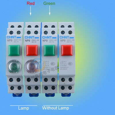 Din Rail Mounted Illuminated Momentary Push Button Switch Circuit Control 230V