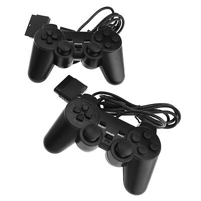 2 Pcs Wired Cable Dual Shock Controllers For PS2 Joypad Gamepad Consoles Black