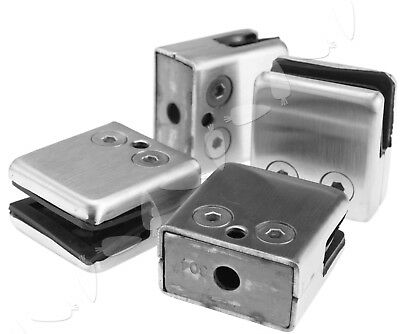4 x Stainless Steel Glass Square Clamps Adaptor Clips For 10/12MM Window Glass