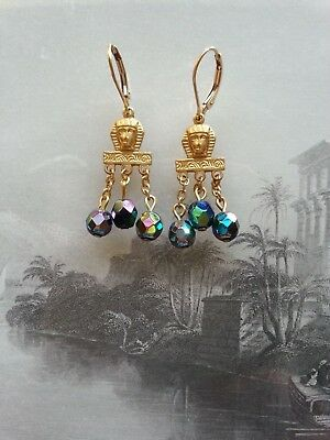Vintage Egyptian Revival EARRINGS - carnival glass scarabe oil-on-water iris 14K
