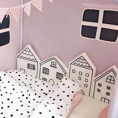 LK_ 4 Pcs Baby Crib Cot Bed Bumper Cushion Fence Cover Cotton Baby Protector E