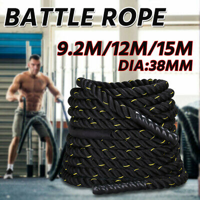 9M/12M/15M Battle Rope 38mm Strength Training Home Gym Exercise Fitness Anchor