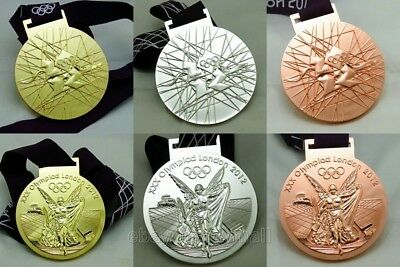 London 2012 Olympic Gold Silver Bronze Medals Complete Set 1:1 with Ribbons