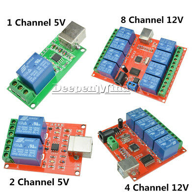1/2/4/8 Ch 5V 12V USB Relay Programmable Computer Control Relay For Smart Home