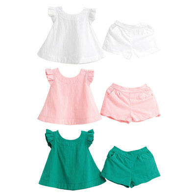 LK_ Toddler Kids Baby Girls Summer Outfit Clothes Shirt Tops+Shorts Pants Set