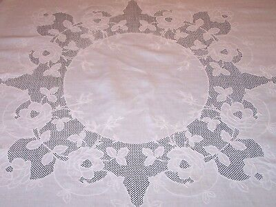 """EXCEPTIONAL VINTAGE WHITEWORK LINEN TABLECLOTH, 68"""" Sq. ROSE MOTIF, BURATTO WORK"""