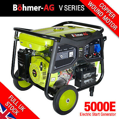 Portable Petrol Generator, 7.5KW / 9.4kVA Key Start Camping Power ~ 5000K Bohmer