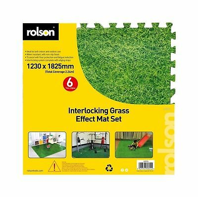 Rolson 60824 6pc Floor Mat Set 120 x 180cm-Grass Pattern, Black .