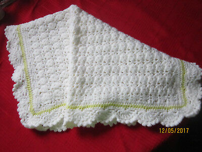 "Handmade Baby Afghan  Great for bassinet or car seat - 26"" x 23"" white w/yellow"