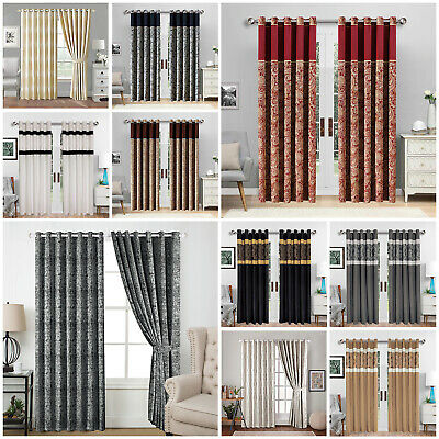 Ready Made Jacquard Eyelet Fully Lined Bedroom and Living Room Window Curtains