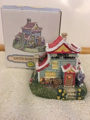 THE BUNNY FAMILY VILLAGE EASTER BASKET WEAVERY INTERNATIONAL RESOURCING With Box