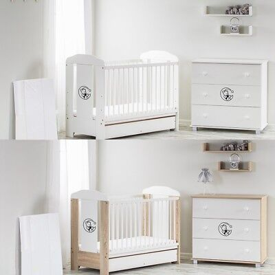 Bear Moon Baby Cot With Container + High Quality Mattress To Choose  3 Colours