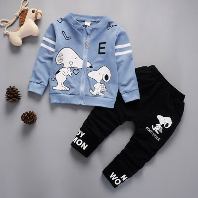 Kids Baby Boy Clothing Sets Toddler Infant Cartoon Outfits Suits Coat + Trousers