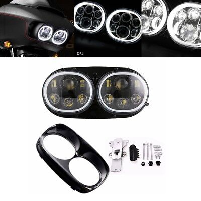For Harley Road Glide 2004-2013 100W LED Dual Headlight with Halo Angel eye DRL