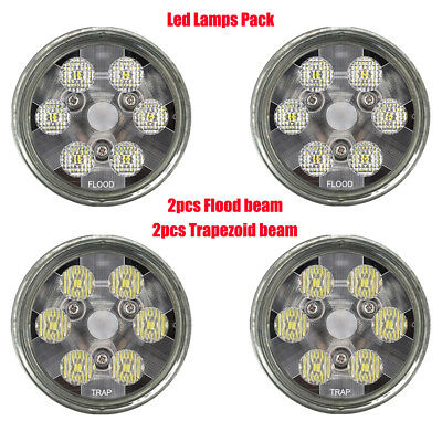PAR 36 Led Bulbs Pack 2 Flood 2 Trapezoid beam tractor lights Replace 4411 24443