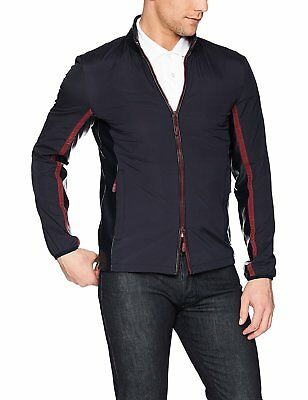 A X Armani Exchange Men's Casual Jacket W/ Leather Collar and Red Zipper