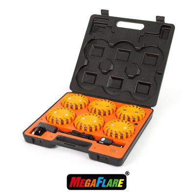 MegaFlare 6-Pack Emergency Recovery Flashing Warning Flare Lights Beacon Amber
