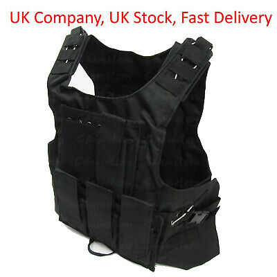 Black Tactical Vest for Airsoft Paintball / Molle Compatible with Mag Pouches