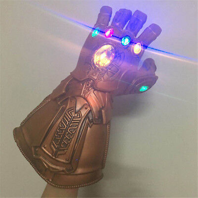 Avengers Infinity War Gauntlet Glove LED Light Thanos Latex Gloves Cosplay Prop