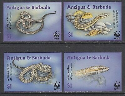 XG-BA329 ANTIGUA & BARBUDA IND - Wwf, 2002 Reptils, Snakes, Imperf. MNH Set