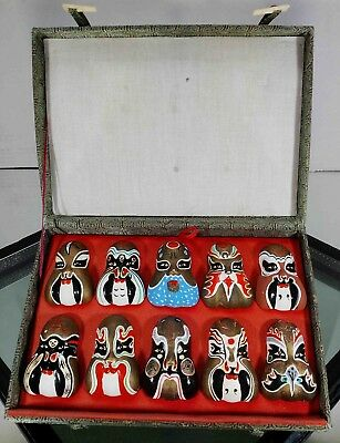 Chinese Vintage Opera Miniature colorful Set of 10 porcelain Masks & display box