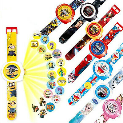 Fun TV Movie Cartoon Characters Figures Projection Wrist Watch Kids Boy Girl Toy