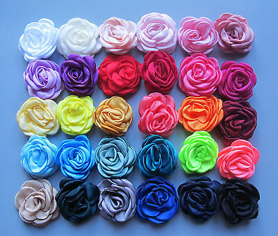 5-6cm Girls Burned Edge Satin Rose Flower Hair Clips Grips Slides