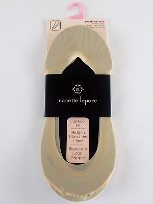 New NANETTE LEPORE Women's NO SHOW LOW Stocking SOCK LINERS SIZE 4 - 10 NIP Nude