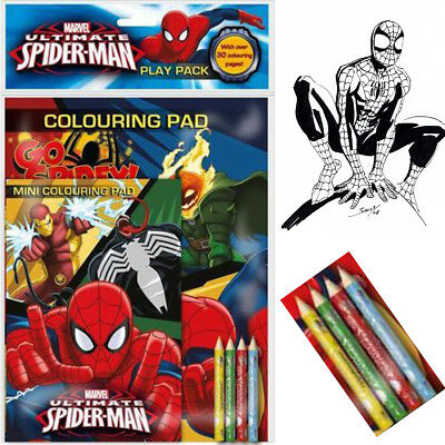 A4&A5 Marvel Spider man Activity Colouring Pad Book With 4 Pencil Set For Kid