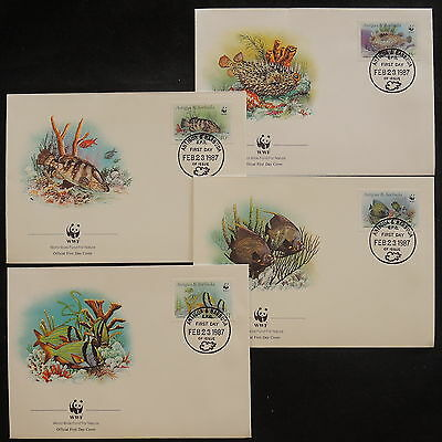 ZS-V924 WWF - Antigua & Barbuda Ind, 1987, Fdc, Fish, Airmail, Lot Of 4 Covers