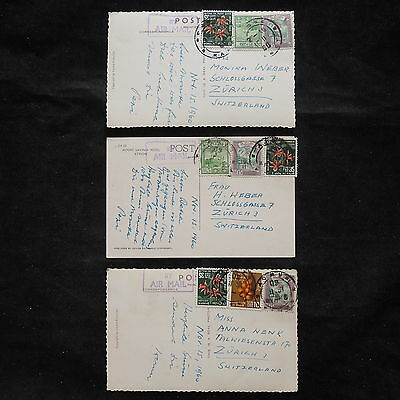 ZS-V399 FLOWERS - Ceylon, 1960, Airmail To Switzerland, Lot Of 3 Postcards
