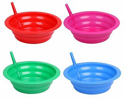Cereal Bowl With Straw for Kids - Four Pack in Blue, Red, Green, and Pink