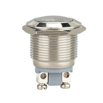 Silver Car Waterproof 19mm 12V Momentary On Off Metal Push Button Switch Cool