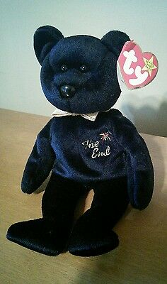 """The End"" Bear retired TY Beanie Baby 1999 With RARE FLAT TAG"