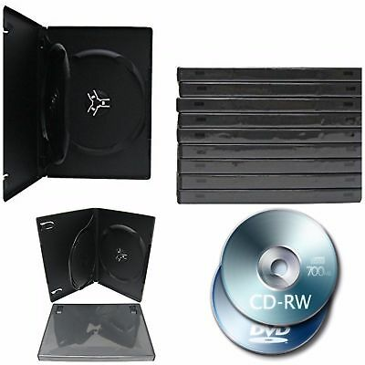 Empty DVD Cases 2 Disc Capacity 10 Pack Replacement DVD CD Disc Black Holder New
