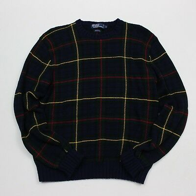 VTG 90s Polo Ralph Lauren Dark Green Plaid Sweater Men's Size Large