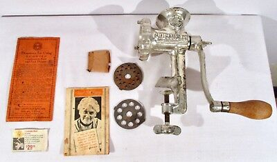 Vintage GRISWOLD  No. 1 MEAT GRINDER w/ 3 Cutters and 2 Blades + Instructions
