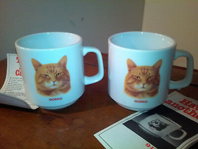 1983 MORRIS THE CAT Ceramic Mugs Lot of (2) 9 Lives Cat Food - Papel Japan - NEW