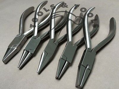 5 Pcs Half Round Flat Chain Nose Jaw Pliers Jewellery Conical Dental Orthodontic