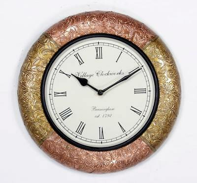 """Antique Vintage Hand Made Wooden Copper & Brass Finish 12"""" Wall Clock-061"""