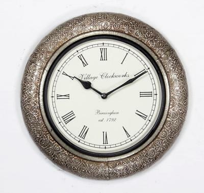 """Antique Vintage Hand Made Wooden Silver Finish 12"""" Wall Clock-073"""